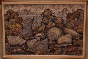 5: Large Bali Painting on canvas, Signed lower right -S