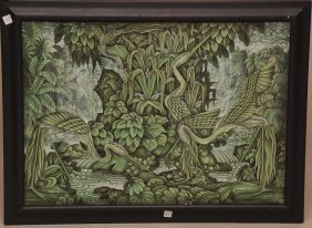 """Bali Painting On Canvas, Signed Lower Right """" A.A."""
