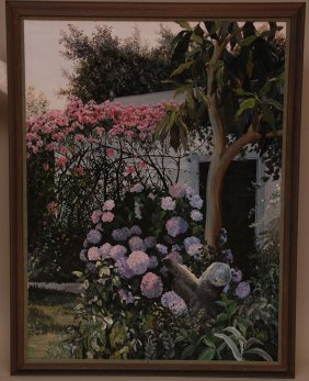 6: Susan Rios (AMERICAN, 1950) oil on canvas, garden by