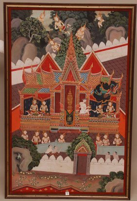 13: Large Tibetan Painting, oil on canvas, framed, over