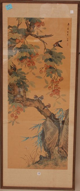 """Chinese Watercolor Of Birds & Trees, 65"""" X 26"""""""