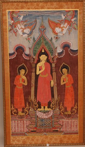 16: Large Tibetan Deity Painting, oil on canvas