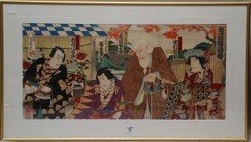 17: Japanese woodblock Print Triptych by Toyotoki 19th