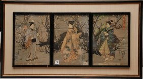 18: 19th Century Japanese Triptych framed individually