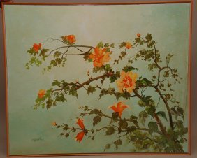 20: Decorative large painting signed Carballosa, oil on