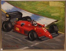 21: 2 Paintings by Nico Wiersema ca. '80's, Indy Car Pa