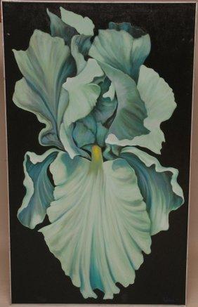 "22: Nite Iris  Oil Painting signed Prichard 77, 58-1/2"""