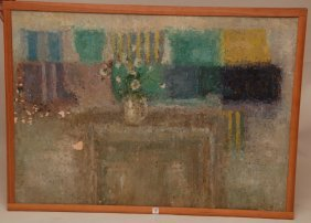 23: Large Modern painting of vase of flowers, has paint