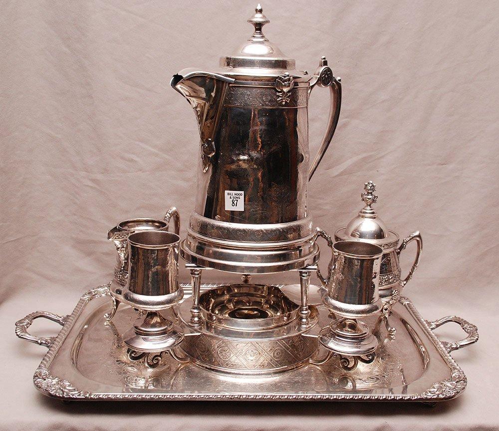 87: Victorian silver plate Assembled Tea Set, kettle wi