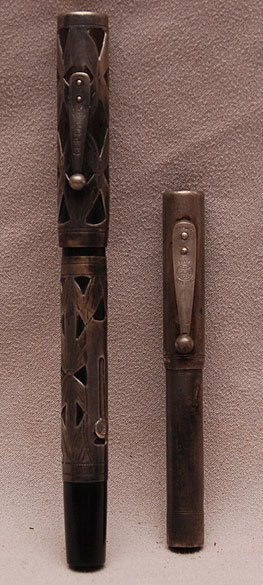 336: 2 Sterling overlay Vintage Waterman fountain Pens