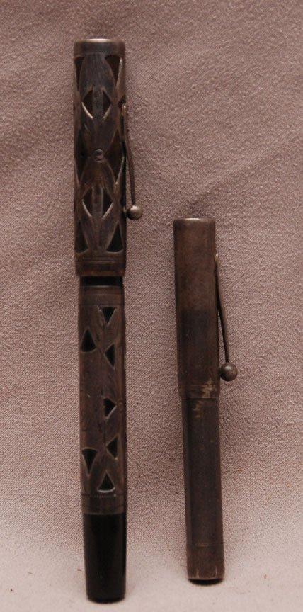 336: 2 Sterling overlay Vintage Waterman fountain Pens - 2