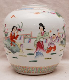 "1: Rose famile Chinese ginger jar, missing lid, 9 1/2""h"