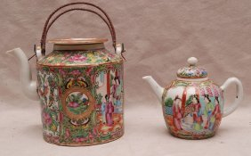 "3: 2 Rose Medallion teapots, 6""h & 4""h"