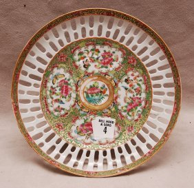 "4: Rose Medallion reticulated Tazza, 4""h x 8 1/2""w"