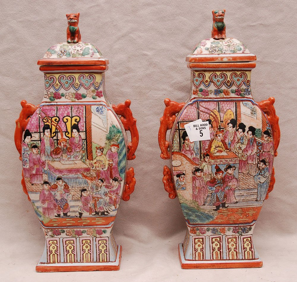 "5: Pair Chinese flat sided jars with lids, 14 5/8""h"