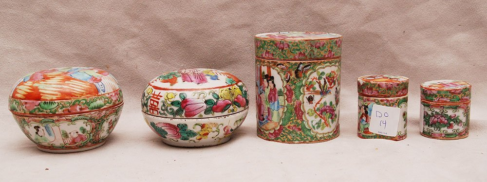 6: 5 assorted Rose Medallion covered boxes (some damage