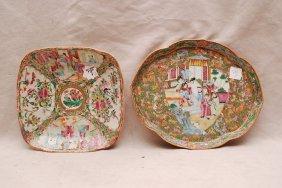 2 Rose Medallion Plates, One Lotus Shape And One Squ