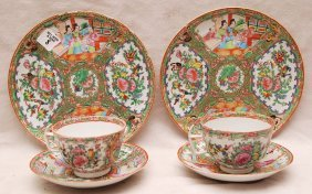 "8: 2 Rose Medallion plates (8 1/2""dia) and 2 tea cups &"