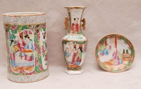 9: 3 pcs. Rose Medallion, brush pot, saucer and miniatu