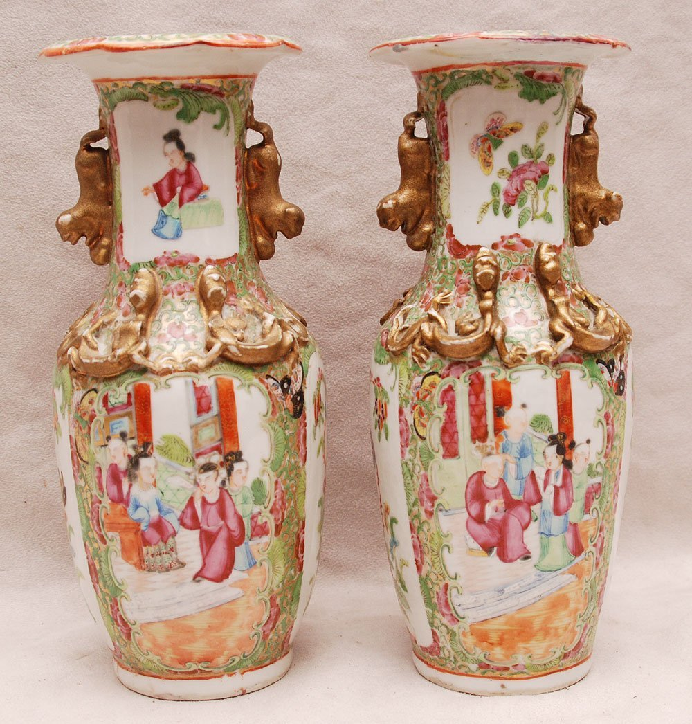 11: Pair Rose Medallion vases with gilded accents  lion