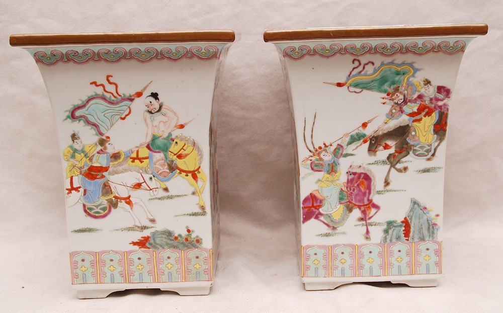 "12: Pair Chinese porcelain vases, warrior scenes, 10""h"