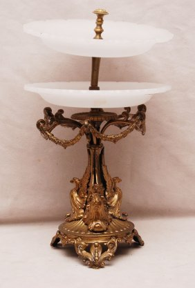 13: 2 tiered opaline glass tazza with bronze frame & st