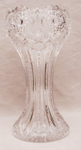 "14: Oversized cut glass vase, 14""h"