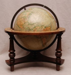 16: Old French globe on wood stand & frame, globe is 14