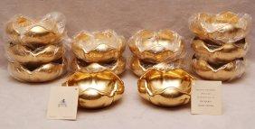 "12 Petal Shaped Picard Gold Bowls, 2""h X 5""dia"