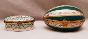 "24: 2 hinged miniature porcelain boxes, ""Made In France"