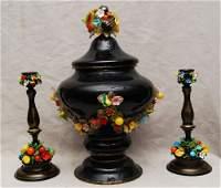 37 3pc Italian Murano covered compote  candlesticks