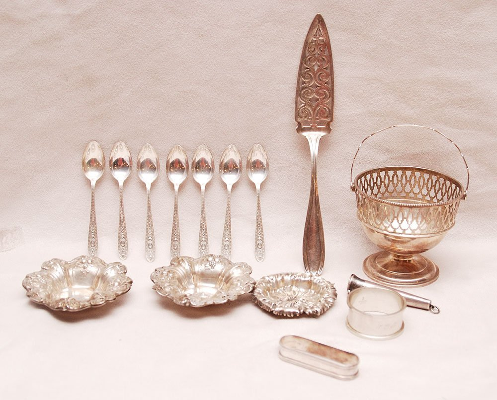 Assorted sterling lot, incl; 2 Francis I nut dishes, ba