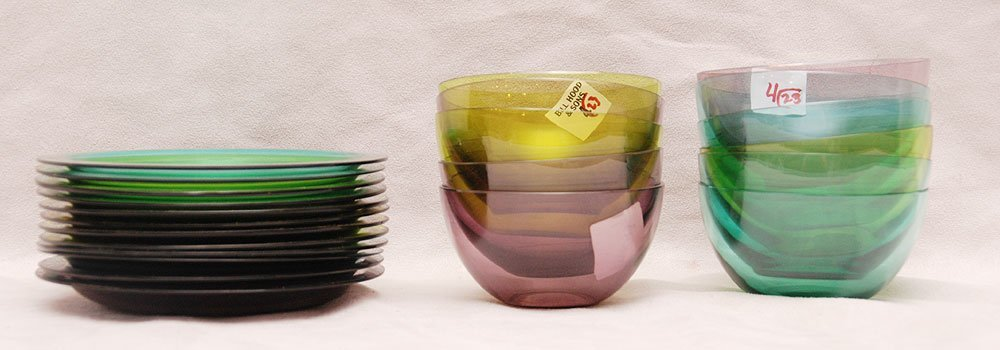 11 Lalique colored glass bowls and 12 colored under pla