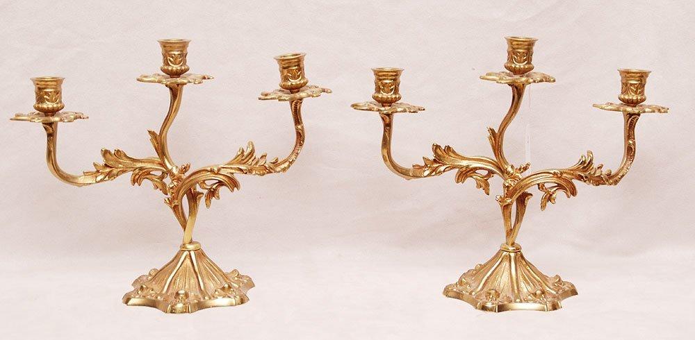 Pair of French bronze 3 lite candelabra, 19th c, 10 1/2