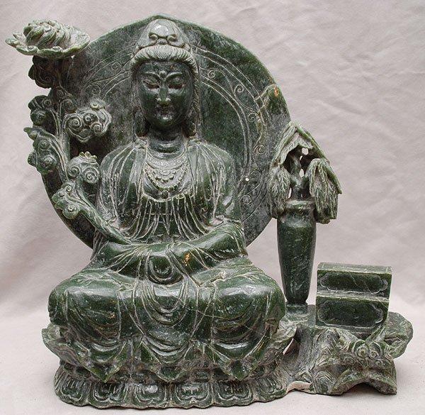 "Chinese green hard stone/jade carved goddess, 15"" x 15"""