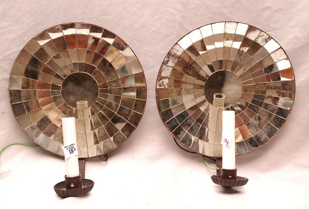 Pair mirrored single light circular wall sconces, 11 1/