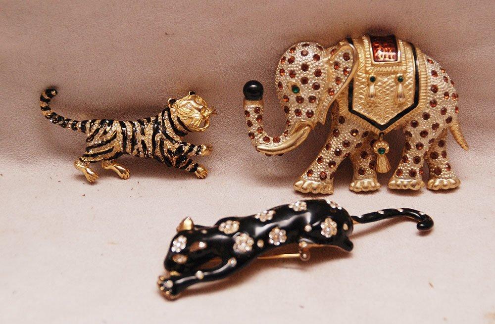 3 large animal pins, elephant, tiger and elephant