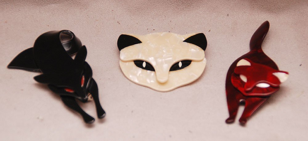 3 French Lea Stein cat pins