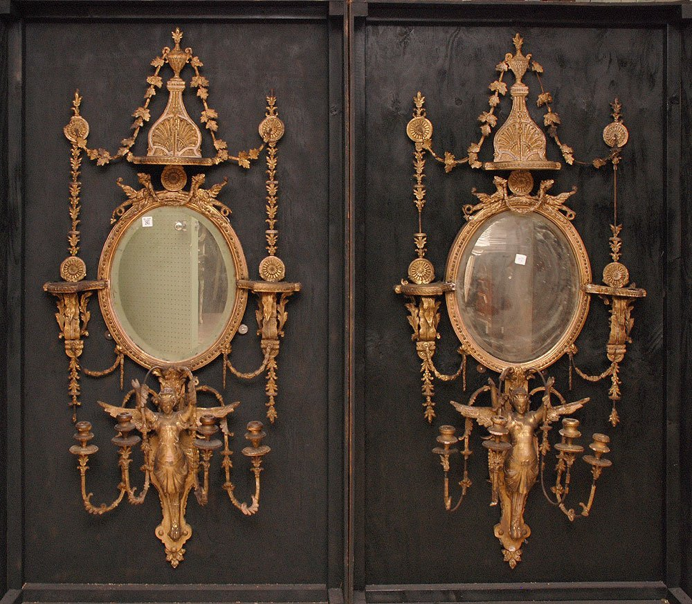 Pair incredible early 19th c. gilded mirror/girandole w