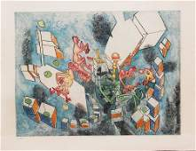 Roberto Matta (Chilean, 1911-2002) Abstract color etchi