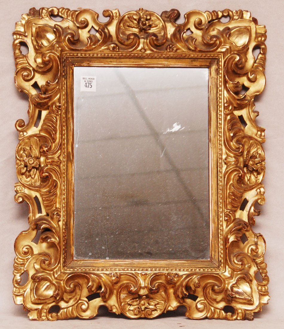 Gilded antique rococo frame mirror 21h x 17 carved gilded antique rococo frame mirror 21h x 17w jeuxipadfo Images