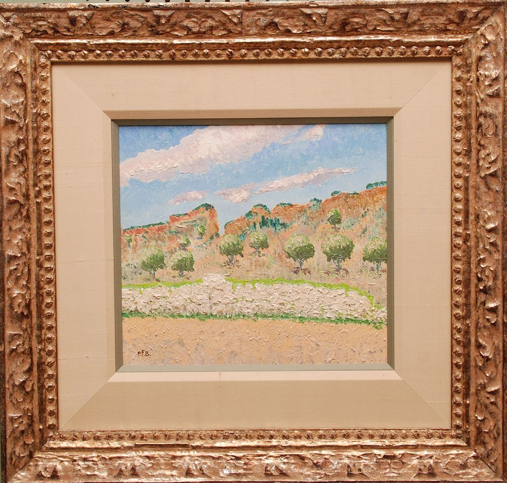French School oil on board, impressionistic landscape
