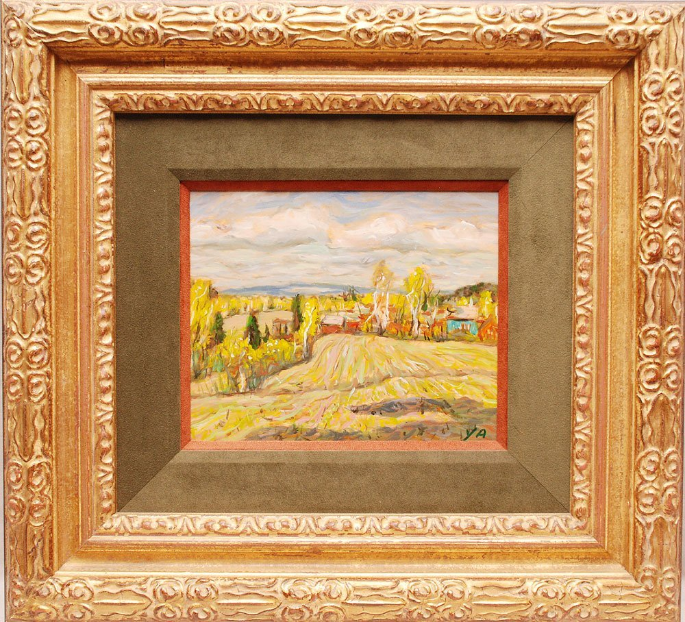 "Farm Scene Painting, oil on board signed YA,  9"" x 11"""