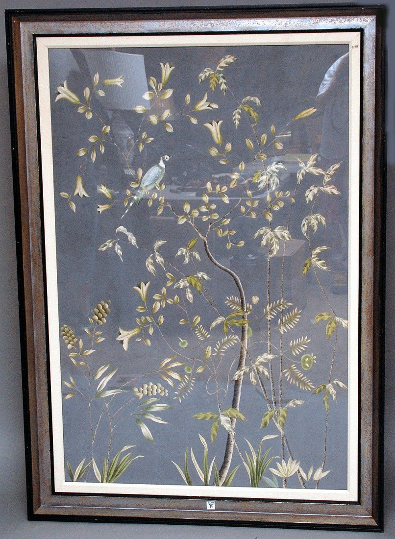 Pr. of large Decorative Paintings on silk, birds on bra