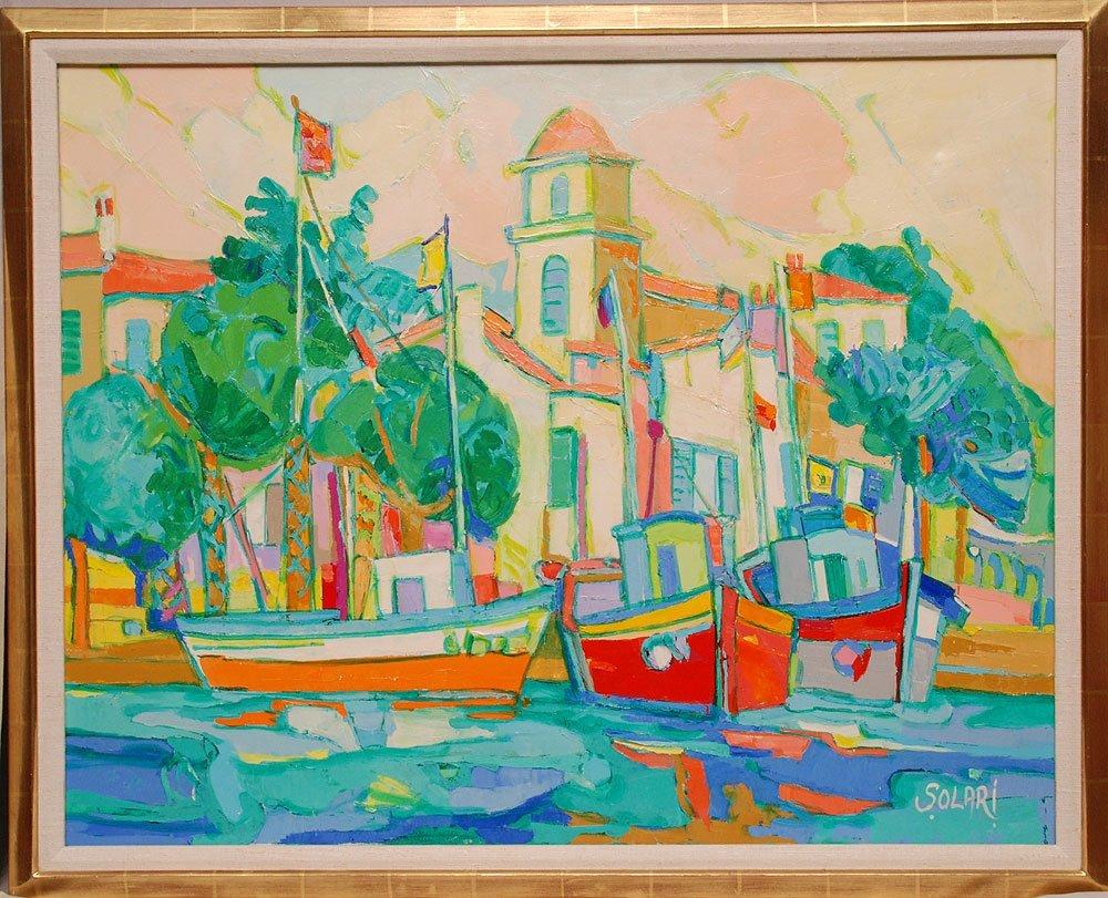Raymond Solari (French 20th Century) oil on canvas, Por
