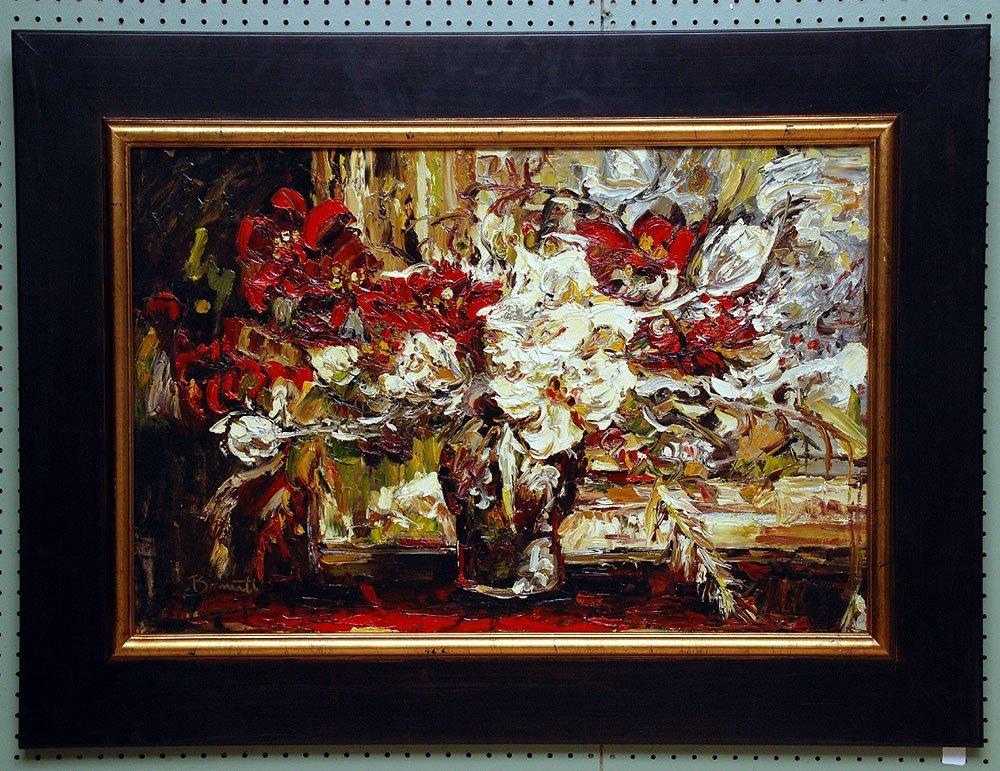 Large Decorative still life oil on canvas, signed illeg