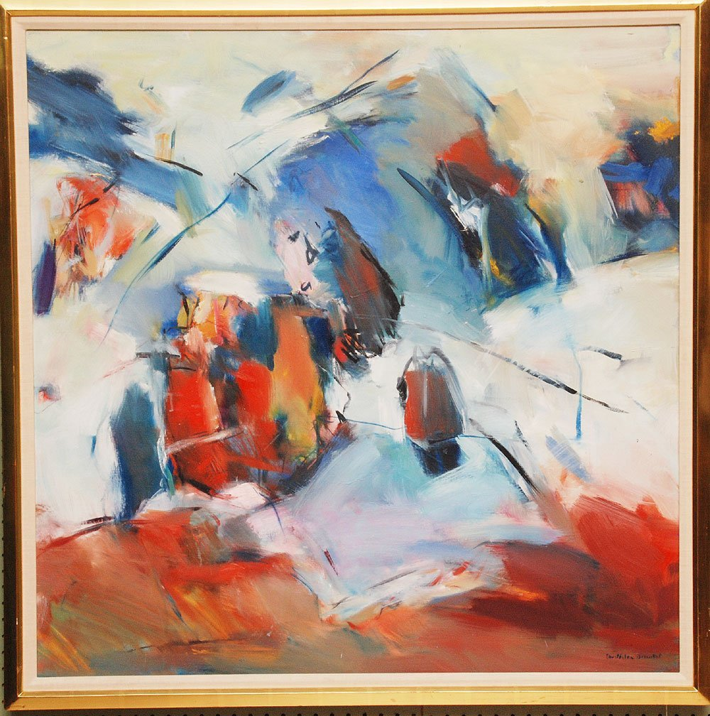 French School,  Abstract signed illegibly oil on canvas