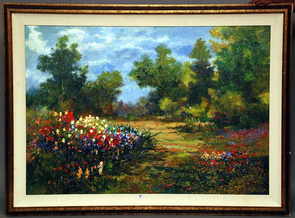 Large Decorative oil on canvas, Landscape signed Trager