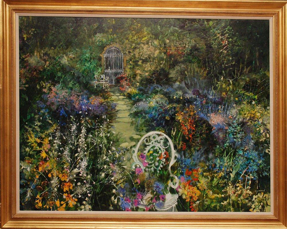 "Monique Journod (FRENCH, 1935) oil on canvas, ""Summer G"