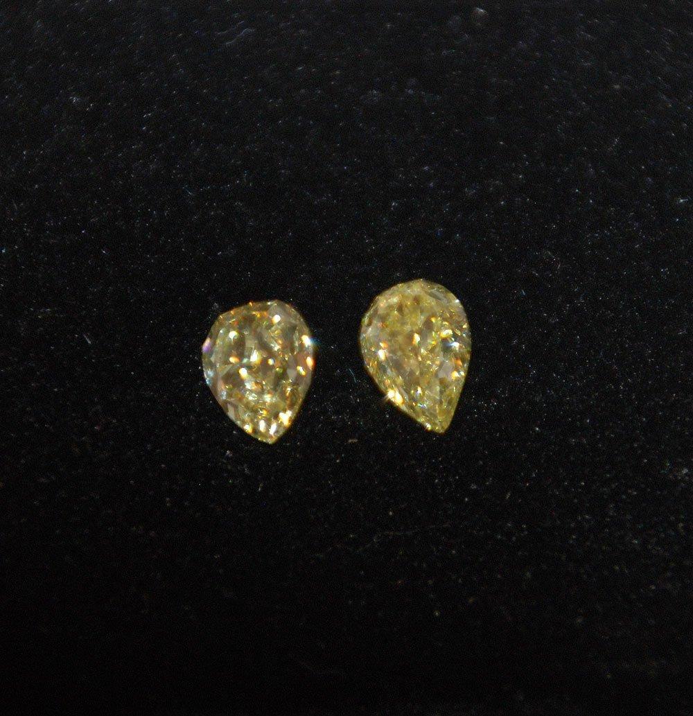 2 FANCY YELLOW PEAR SHAPE DIAMONDS 1.22ct  & 1.12ct